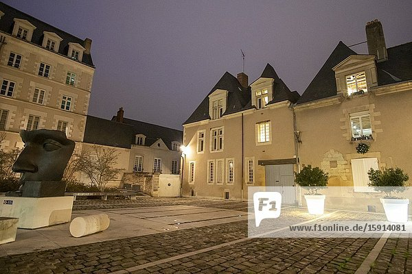 Angers Loire valley France on December 2019: St Aubin abbey now beaux arts museum by night.