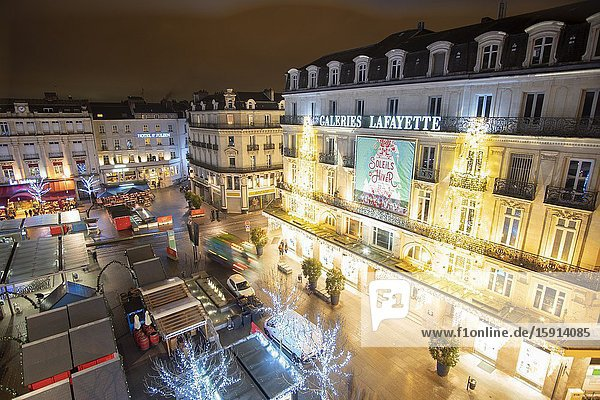 Angers Loire valley France on December 27  2019: Christmas market at Place du Ralliement by night.