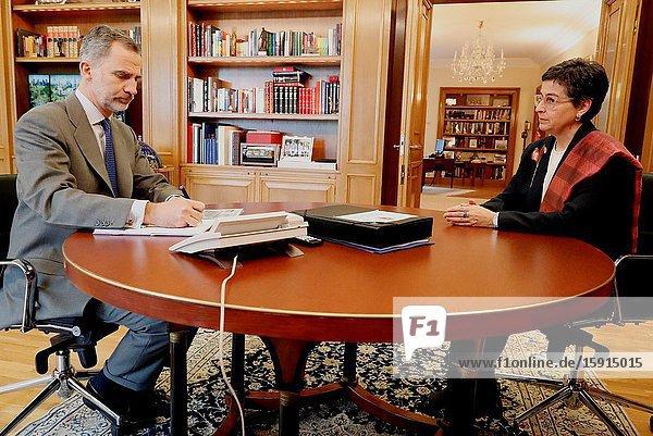 King Felipe VI of Spain  Arancha Gonzalez Laya attend a meeting at Zarzuela Palace on April 7  2020 in Madrid  Spain