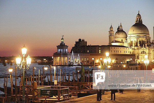 Sunset in the Grand Canal  Santa Maria della Salute Venice Italy.