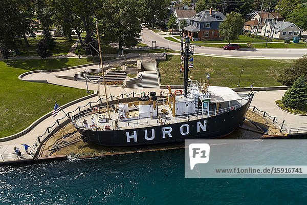Huron Historical lighthouse ship on the st. clair river at port huron michiga on lake huron.