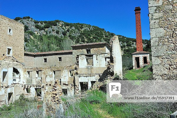 The ancient paper factory Los Heros  abandoned in mid XX century  nowadays in ruins. The Barranco del Rio Dulce Natural Park. Aragosa town  Guadalajara province  Spain