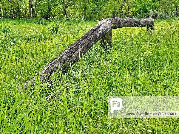 Broken wooden fence in long grass  Lauzun  Lot-et-Garonne Department  Nouvelle Aquitaine  France.