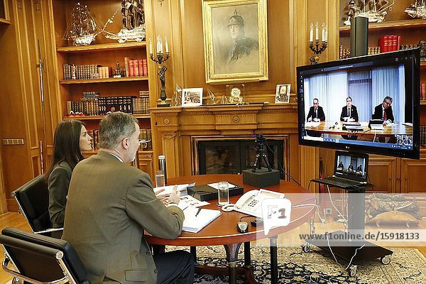 King Felipe VI of Spain  Queen Letizia of Spain attends a videoconference with those responsible for the State Society Correos y TelŽgrafos have explained to them the measures adopted by # COVID19 to adapt their work system as well as other actions to distribute medical supplies at Zarzuela Palace on April 13  2020 in Madrid  Spain