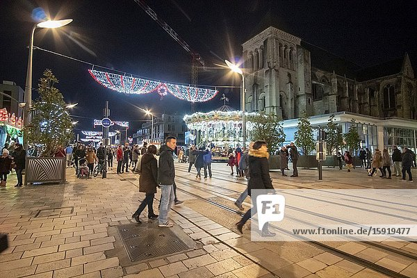 Tours France: The Christmas fair at rue Nationale in Tours. France.