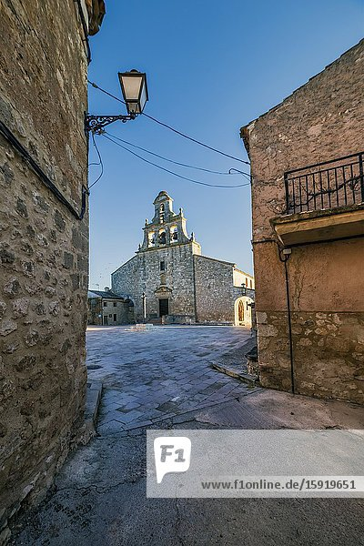 Churh  square and lamppot in Maderuelo. Segovia. Spain. Europe.