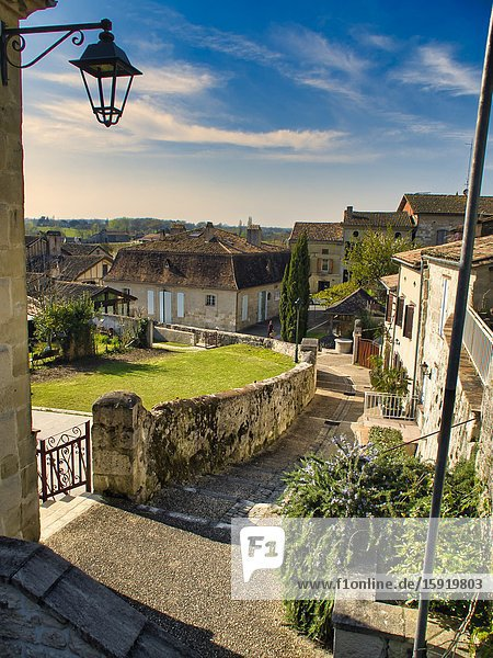 View down Rue des Terrasses  Lauzun  Lot-et-Garonne Department  Nouvelle Aquitaine  France.