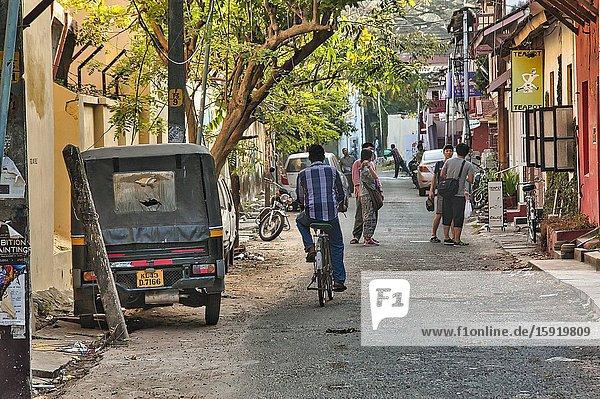 Street scene  Fort Cochin  Fort Kochi  Kerala  India.