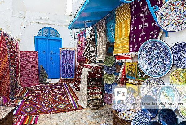 Street view with carpets. Sidi Bou Said village. Tunisia  Africa.