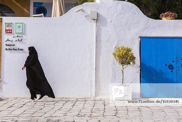Street view. Sidi Bou Said village. Tunisia  Africa.