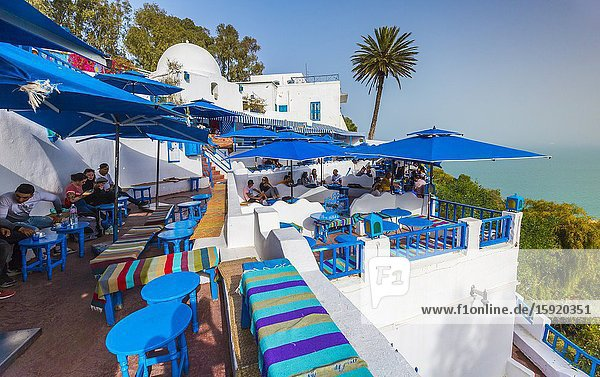 Pavement cafe and viewpoint. Sidi Bou Said village. Tunisia  Africa.