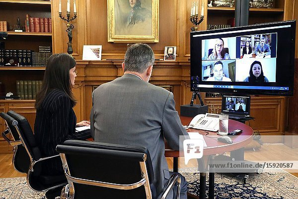 King Felipe VI of Spain  Queen Letizia of Spain attends a videoconference with a representation of the Itaca Educational Association  which constitutes a social lifeguard in a highly vulnerable neighborhood of L'Hospitalet  serving weekly more than 1 500 people at risk of exclusion at Zarzuela Palace on April 14  2020 in Madrid  Spain