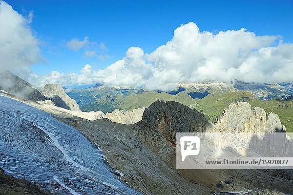 The glacier of he Marmolada  the higest mountain of the Dolomites. They are a mountain range declared a UNESCO World Heritage Site. Trentino province  Italy