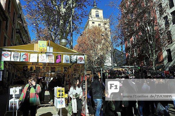 El Rastro is a typical street market. Madrid city  Spain