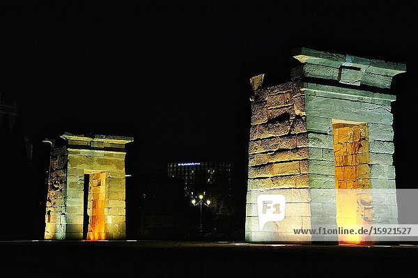 The Temple of Debod is an ancient Egyptian temple that was dismantled and rebuilt in Madrid  Spain.