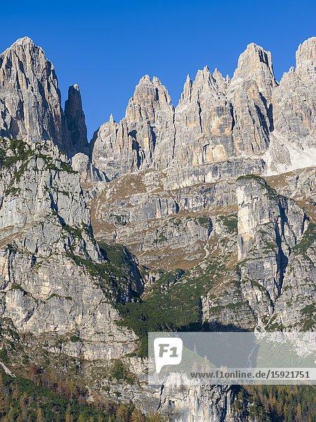 Peaks of Dolomiti di Brenta high above Valle delle Seghe near Molveno. Dolomiti di Brenta  part of UNESCO world heritage Dolomites. Europe  Italy  Molveno