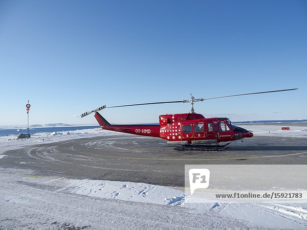 Upernavik airport. Winter in the town of Upernavik in the north of Greenland at the shore of Baffin Bay. America   Denmark  Greenland.