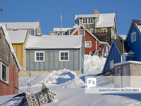 Winter in the town of Upernavik in the north of Greenland at the shore of Baffin Bay. America   Denmark  Greenland.