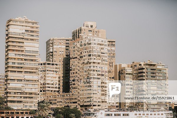 Buildings from the Nile River  Cairo  Egypt.