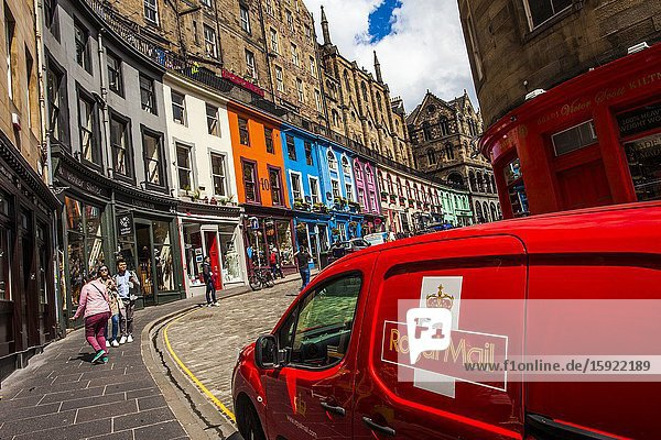 Royal Mail car in Victoria Street  Old Town  Edinburgh  Scotland  United Kingdom  Europe