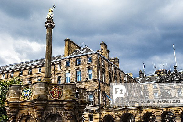 Mercat Cross  Parliament Square  Royal Mile  Old Town  Edinburgh  Scotland  United Kingdom  Europe.