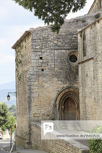 Goult village in Provence. The medieval church.