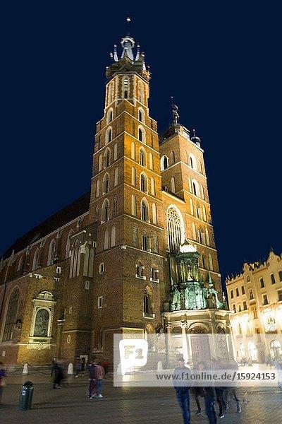 St. Mary's Basilica Krakow Stare Miasto Old Town Square Poland European Union Eastern Europe City.