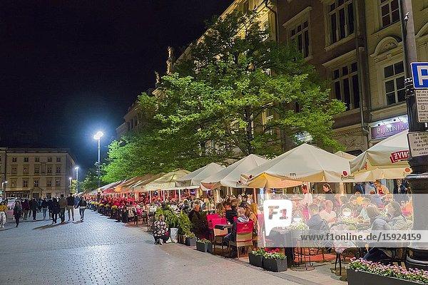 Restaurants Krakow Stare Miasto Old Town Square Poland European Union Eastern Europe City.