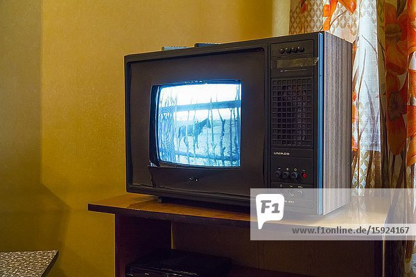 Television in Nowa Huta Communist Neighborhood Apartment Stalin Post World War II Krakow Poland Europe EU.