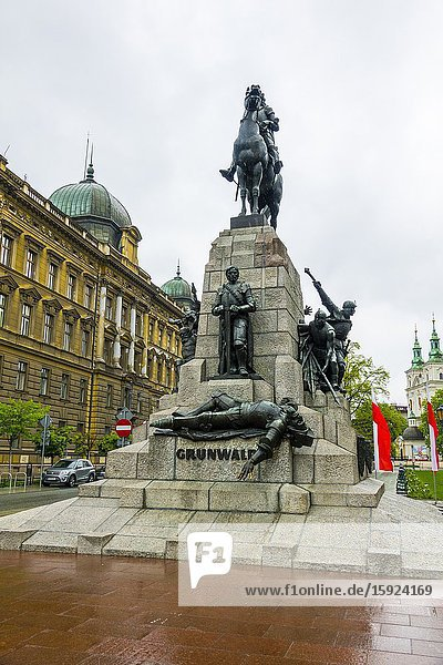 Grunwald Monument Matejko Square Krakow Poland Old Town Lithuanian Army Teutonic Knights.