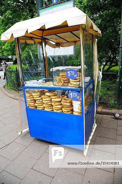 Obwarzanek bagel pretzel stand on Krakow Street Poland Europe EU.