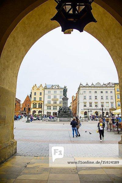 Archway of Cloth Hall in Old Town Krakow Poland Europe EU Stare Miasto.