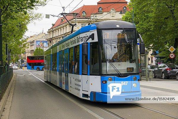 Public Transit Krakow Poland Tram Old Town Europe EU.