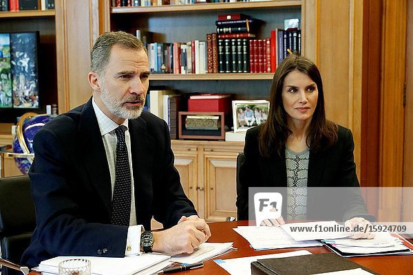 King Felipe VI of Spain  Queen Letizia of Spain attends a videoconference with Farmaindustria at Zarzuela Palace on April 21  2020 in Madrid  Spain