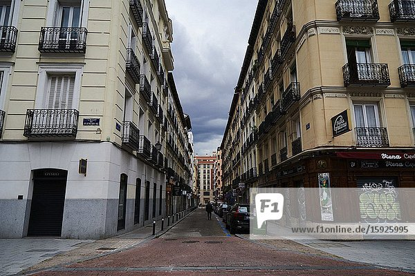 A view from empty Chamberi neighborhood on April 22  2020 in Madrid  Spain. Starting last week  some businesses deemed non-essential have been allowed to resume operations  and it is expected that from April 27 children under 12 will be allowed to come and go from their homes more freely. Spain has had more than 200 000 confirmed cases of COVID-19 and over 20 000 reported deaths  although the rate has declined after weeks of lockdown measures.