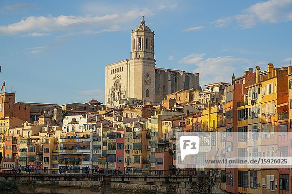 The Houses on the River Onyar and Saint Mary cathedral,  Girona,  Catalonia,  Spain,  Europe