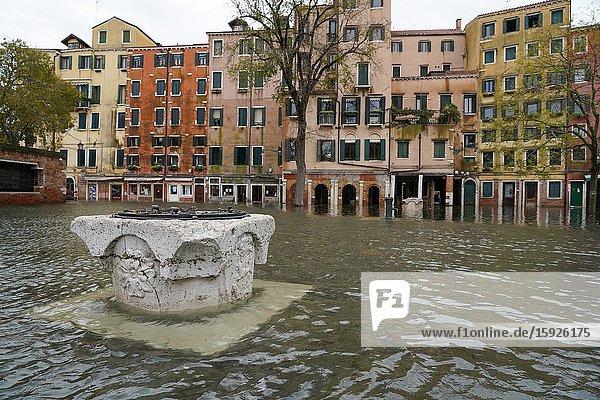 High tide in Venice  Ghetto square  november 2019  Venice  Italy  Europe