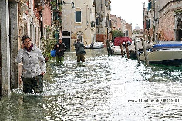 High tide in Venice  Fondamenta della Sensa  november 2019  Venice  Italy  Europe