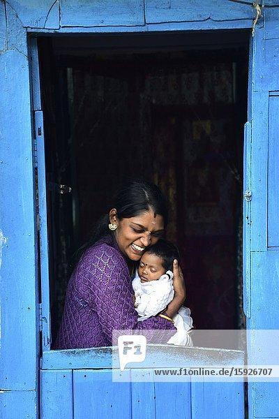 India  Kerala  Munnar surroundings  Mattupetty Tea pluckers village  Mother and child.