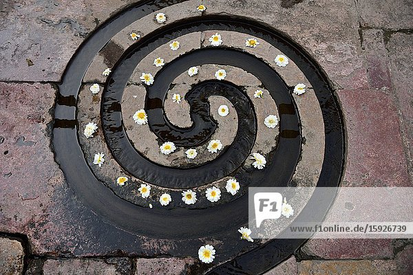 India  Madhya Pradesh  Mandu  Nilkanth mahadev temple . Spiral water channel with flower offering.This water channel is designed in the shape of a seashell with interwoven spiral symbolic of god shiva.