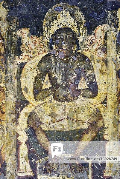 India  Maharashtra  World Heritage Site  Ajanta  Cave 2 (7th C)  Buddha in Tushita heaven.