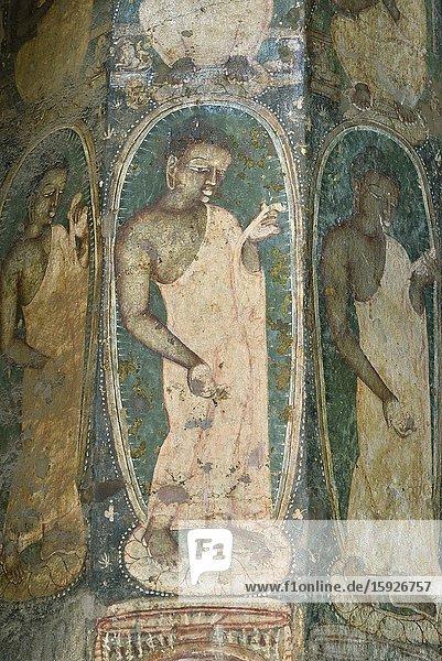 India  Maharashtra  World Heritage Site  Ajanta  Cave 10  Painted pillar  Bhikku (Buddhist monk).