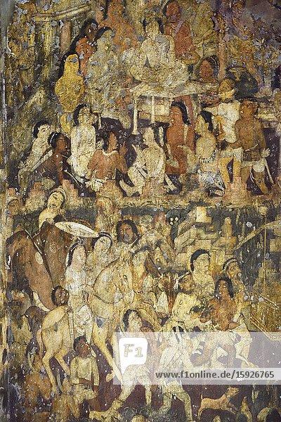 India  Maharashtra  World Heritage Site  Ajanta  Cave 17 (6th C)  'The coming of Sinhala'.