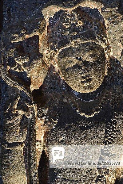 India  Maharashtra  World Heritage Site  Ajanta  Cave 20 (5th C)  Monastery  Salabhanjika (guardian fairy).