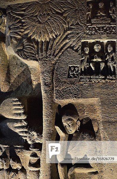 India  Maharashtra  World Heritage Site  Ajanta  Cave 26 (5th C)  Mourning of the Buddha.