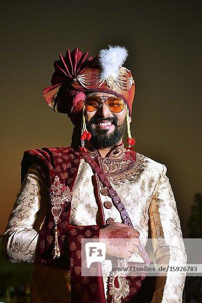 India  Maharashtra  Aurangabad  Bridegroom riding towards his bride's home.