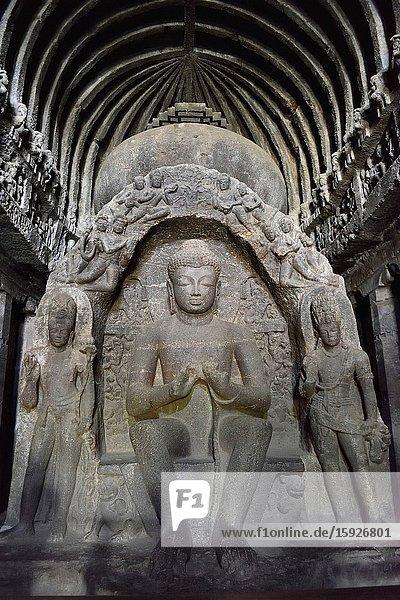 India  Maharashtra  World Heritage Site  Ellora  Cave 10 (Carpenter's cave')  Buddhist prayer hall Buddha with Dharmachakra Mudra.