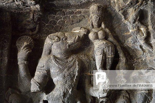 India  Maharashtra  World Heritage Site  Ellora  Cave 14  Varaha shaped Vishnu saving the goddess Earth from the flood.
