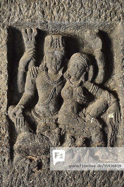 India  Maharashtra  World Heritage Site  Ellora  Cave 15  Shiva and Parvati on Mount Kailash.