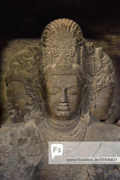 India  Maharashtra  Mumbai (Bombay)  World Heritage Site  Elephanta caves  Trimurti  Three headed Shiva.